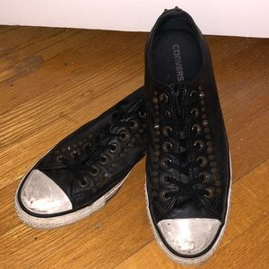 Converse Distressed & Studded Leather Sneakers